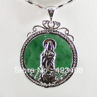 Chains Celtic Gift Goddess Elephant Pendant Necklace Natural jade gems Silver Plated Chain Fashion women jewelry Christmas Gift AAA