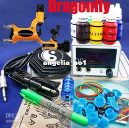Wholesale New Dragonfly Rotary Tattoo Machine Kits Needles LED Power Supply System Complete
