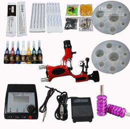 Wholesale Dragonfly Rotary Gun Tattoo Machine Kits Double Adjusted Power Supply Needles Tips Inks Tools
