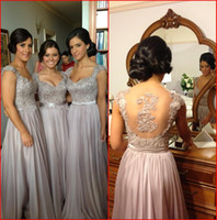 Wholesale 2014 Norma Bridesmaid Dresses Luxury Lace Scoop Capped Sleeve Sheer Back Sweep Train Chiffon Embroidery Beads Wedding Party Gowns Free Gift