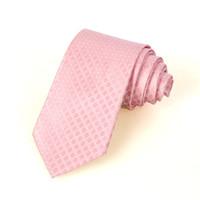 Nuevo patrón de color rosa puro JACQUARD tejido hombres de seda Corbata D44