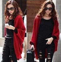 Wholesale 2013 New Fashion Cashmere Woman Shawls Bat Sleeve Long Loose Sweater Coat Knit Autumn Outfits Korean Style colors