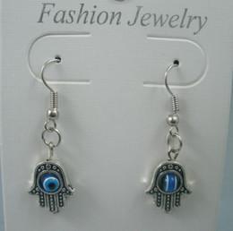 Wholesale Earring x17mm Antique silver Fatima Hand zinc Based Alloy EVIL EYE And Sterling Silver Fishhook Ear Wire z018