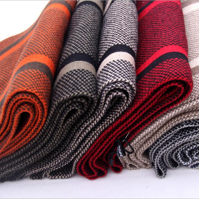 Knit Vertical Stripes Pattern : New hot cashmere scarves men knit hood vertical stripes