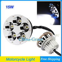 Headlights Universal  15W High Power Super Bright 5 LED Motorcycle Head Light Hi L Beam Round, Universal Motor Headlight Free Shipping