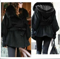 Wholesale 2014 New Fashion Women s warm Black imitation fox collars show thin hooded cloak Coat outerwear