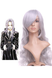 Wholesale Silver Gray cm Angel Sanctuary Rosiel Nylon Cosplay Wig jacket u13 b9e