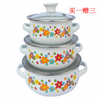 Wholesale Colorful flower piece set enamel soup pot small milk pot instant noodles pot baby rice bowl refrigerator storage bowl