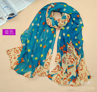 Printed Long Chiffon New Lady's Scarves Big Dot Pattern Scarfs Korean Style Topper Scarfs 10 Pcs Lot