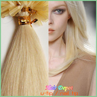 Wholesale 200s s Nail U tip Fusion Hair Extensions bleach blonde silky Straight Human Hair Extension Keratin Remy TipTop free ChinaPost