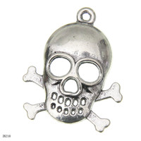 Wholesale Punk Sliver Metal Loose Beads Cool Skull Bone Beads Fit Bracelet Necklace Jewelry Making ZK210