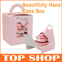 Wholesale Opening windows portable small pink cake cups cake Beautifully Hand Cake Box Cake Tools boxes snack boxes set