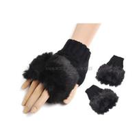 Wholesale 10 colors Women Ladies Fingerless FUR Winter Warm Wrist Knitted Wool Mitten Gloves JY33 pairs EMS free