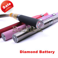Electronic Cigarette Battery Stainless steel Electronic Cigarette 900 mAh Rechargeable Battery with Diamond For All EGO Series EGO-T EGO-W EGO-C E-cigarette Rockbox