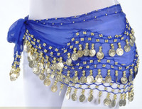 Wholesale 12Colors Rows Gold or silver Coins Belly Egypt Dance Hip Skirt Scarf Wrap Belt Costume Christmas sports Dancing YH047