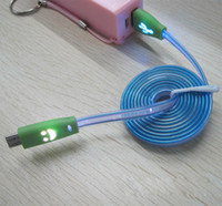 Wholesale LED Visible Flat Micro USB V8 Charger Cable for Galaxy S3 S4 HTC Z10 Data Smile Light Up Flashing Rubber Cord