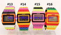 Wholesale 100pcs Hot sale fashion SHHORS Digital Watch Night Light Waterproof Plastic Jelly Candy Rainbow Watches