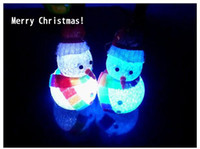 Wholesale Christmas gift crystal snowman LED Colorful Night Light festival decorative lights light up toy