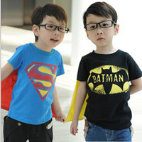 Boy Summer Standard Hot Sale free shipping Baby Boy Superman Batman t-shirt Kids summer tops tees Cool tops +cloak Children clothes 10pcs lot