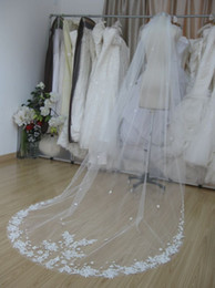 Wholesale Vintage Style single layer lace net long Wedding Veils Bridal Veils VEL