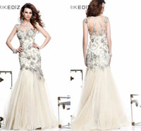 Wholesale 2014 TARIK EDIZ Crew Mermaid Ivory Prom Dresses Exquisite Handmade Newest Evening Dresses Organza Sleeveless Pageant Dresses Sexy
