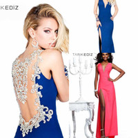 Reference Images V-Neck Chiffon Open Back TARIKEDIZ Party Dresses Handmade Beads Pink Blue New 2014 Sexy Evening Dresses Sleeveless Tarik Ediz Party Dress Evening Gown