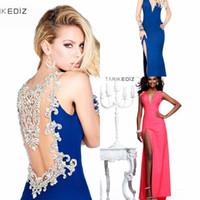 Reference Images V-Neck Chiffon Open Back TARIKEDIZ Party Dresses Handmade Beads Pink Blue New 2014 Sexy Evening Dresses Sleeveless Tarik Ediz Party Dress Evening Gown