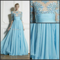 Wholesale 2014 Zuhair Murad Sexy Sheer Bateau Wedding Evening Dresses New Half Sleeve Appliques Lace A Line Formal dress Chiffon Long Prom Dress Gowns