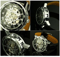 Wholesale Hollow luxury Leather watches Gold Silver Black Dial Skeleton Mechanical Sport Army Classic Men Black Leather Wrist watches edison2011