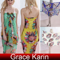 Wholesale New Sexy Women s Chiffon Sunflower Print Beach Shawl Cover up Dress CL4267