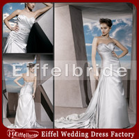 Wholesale Cheap Silver Wedding Dresses A Line Sweetheart Pleated Embellishment
