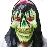 Wholesale Full face Rubber One eyed Horror Mask Skull shape Luminous Mask for Halloween g