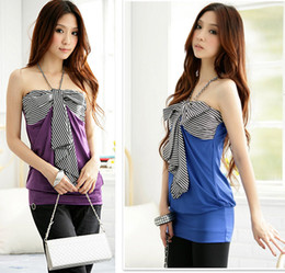 Wholesale Special clearance quality of the same yuan Nahuo summer halter wrapped chest splicing color full