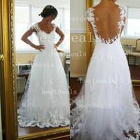 2014 vestido de noiva New sexy white lace cap sleeves A line...