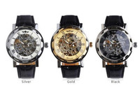 Wholesale Classic Luxury Men s Black Leather Gold Dial Skeleton Mechanical Sport Army Hollow Men Watch Wrist watches edison2011