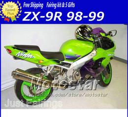 ABS black green motorcycle parts fairings for Kawasaki Ninja ZX-9R 1998 ZX9R 98 99 ZX 9R 1999 ABS plastic body fairiing kit