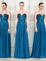 Cheap New Arrival Sweetheart Sheath ZUHAIR MURAD Evening Dress With Rhostone New 2014 Long Zuhair Murad Evening Dress Pleat