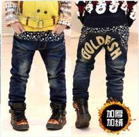 Wholesale Hot Fashion New Korean children thicken fleece jeans boys casual denim trousers popular garment kids Jeans