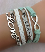 Wholesale 5pcsInfinity Faith amp Love Bracelet in Silver Wax Cords and Leather Braid Best Gift