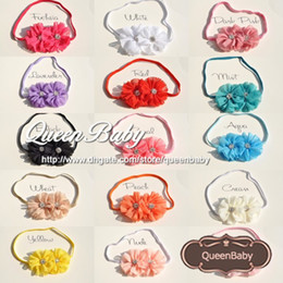 Trial Order Double Chiffon Flowers Solid Ballerina Blossom Scalloped with Rhinestone Buttons Center thin Headband 30PCS lot
