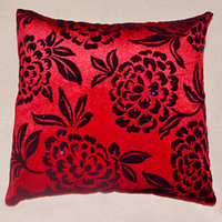 Wholesale 2013 Hot Sale New Cushion Square Shape Cushion with Flower Pattern Western Style Black and Red Pillow Case