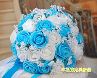 Wholesale BUY Beautiful Wedding Bouquet Artificial Rose Flowers Blue Bridal Bouquets Colors Sold by ebelz