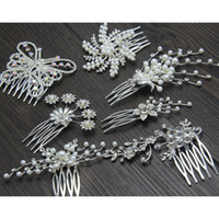 Wholesale 2014 Hot sell Bridal Cown gril tiaras Pearl Flower Comb Women Rhinestone Pearl headdress Hair Accessories Wedding Dress many