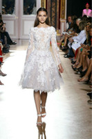 Jewel/Bateau zuhair murad dress - Hot Sale Zuhair Murad White Lace Short Prom Formal Dresses Appliques A Line Knee Length Evening Dresses Gowns Long Sleeve Party Dress