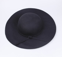 Wholesale Fashion Women Black Soft Floppy Wide Brim Cloche Fedora Dress Hat Retro Goth Wool Bowknot Band DII4