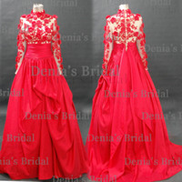Wholesale Inspired by Rita Ora at MTV in Marchesa Red Ball Gown Sheer Long Sleeves Pageant Dresses Dhyz buy get free Tiara