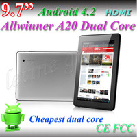 Wholesale 9 Inch android Tablet PC Dual core Allwinner A20 Dual camera GB GB with Bluetooth capacitive screen tablet pc Free DHL