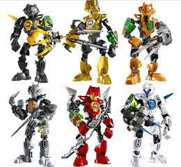 Wholesale 6pcs Decool Hero Factory Plastic bucket canned fit STYLES C assembly robot Warrior