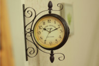 Wholesale European Classical England Rotatable Wrought Iron Double side Wall Clock