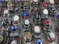 Wholesale FREE Bulk Oversize Natural Shell Gemstone Tibetan Silver P Rings